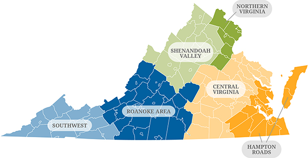 Map of Virginia Areas